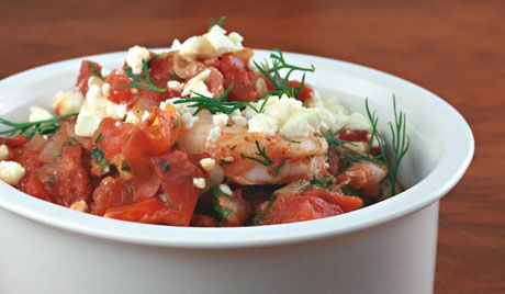 Baked shrimp with tomatoes and feta, good hot or cold.