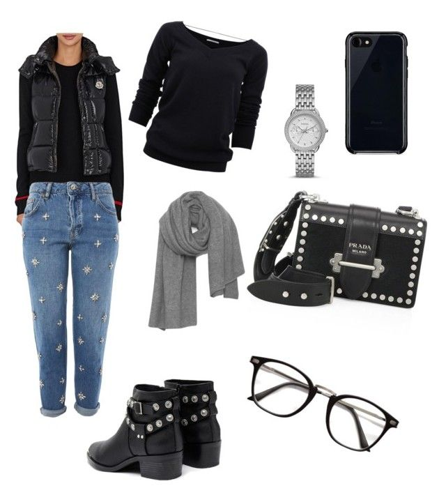 """""""🙈"""" by iuliacalin on Polyvore featuring Moncler, Topshop, Brunello Cucinelli, Senso, Prada, FOSSIL, American Vintage and Belkin"""