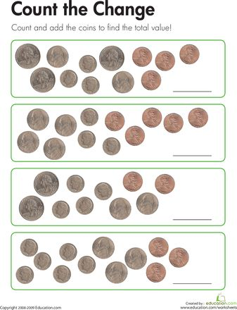 add up the change worksheets coins and count. Black Bedroom Furniture Sets. Home Design Ideas