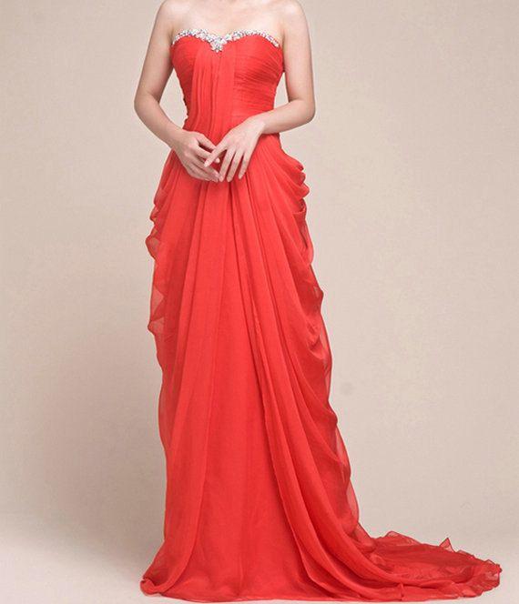 Red chiffon prom dress, long evening dresses, formal dress With Ruffle