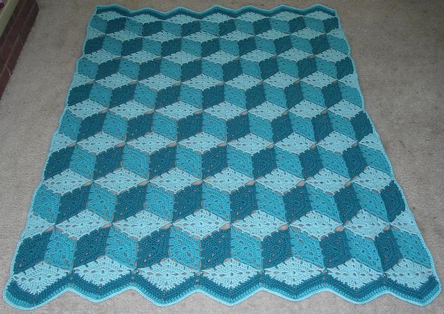 Knitted Quilt Block Patterns : 33 best images about crochet tumbling blocks quilt on Pinterest Ravelry, Pa...