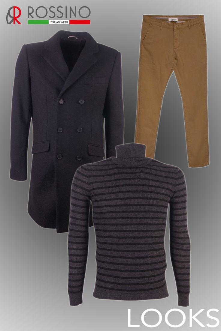 Stijltip voor heren! Je kan nooit de fout ingaan met een gestreepte trui, chino's en een overcoat.