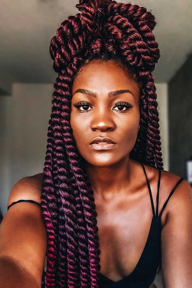 Half-Up With Twists #braids #halfup ★ Do you know how variously you can pull off crochet braids? Let us fill you in! Sho…