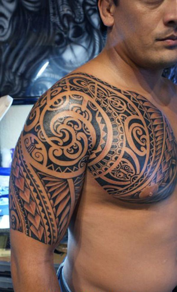 The Polynesian Tribal Arm and Chest Tattoo incorporate a variety of traditional tattoo symbols. In the traditional Polynesian society, tattooing is a clothing, a language, a symbol of power and a claim to fame. It is a way to show… Continue Reading → #marquesantattoosshoulder