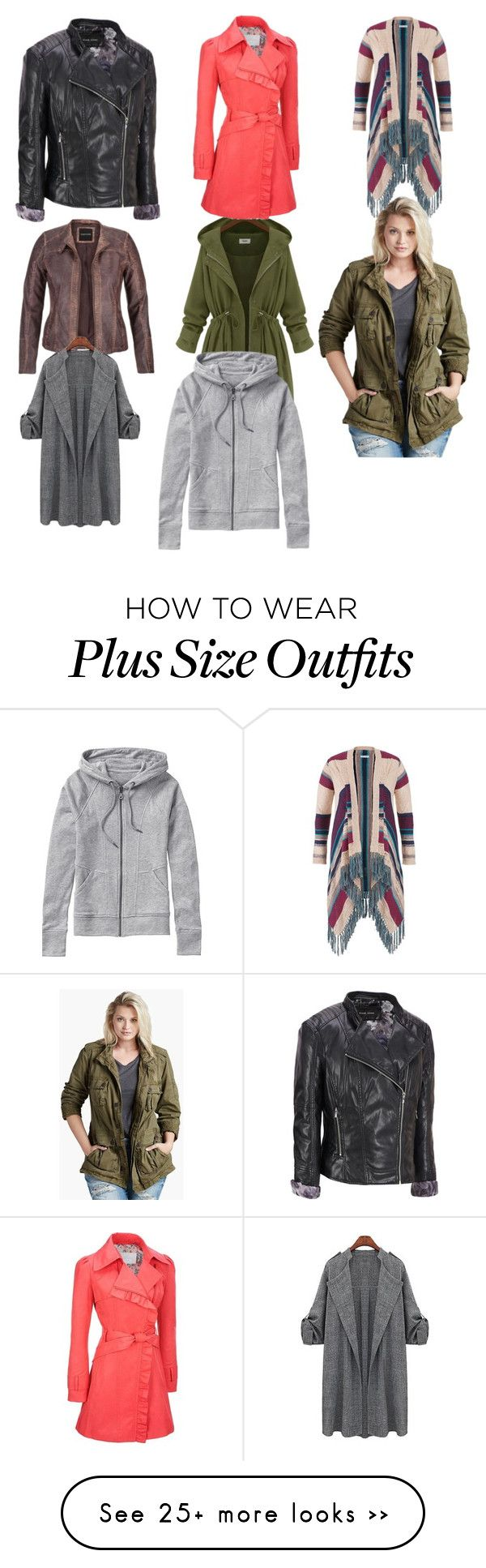"""""""Plus size outerwear"""" by suzinjersey on Polyvore featuring maurices, Jessica Simpson, Black Rivet, Lucky Brand, Athleta and plus size clothing"""