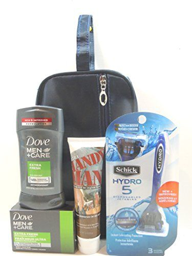 Men's #Premium #Skincare 5pc.Gift #Set #Schick #Hydro #5 #Disposable #Razor #3 #Count, #Ultra #Handy #Man #Skin #Balm, #Dove Men+Care #Antiperspirant #Deodorant, and #Body +Face #Soap Bar,Toiletry #Bag. Men's #Premium #Skincare 5pc.Gift #Set For Men #Ultra #Handy #Man #Skin #Balm #Premium Moisturizing for Dry #Skin Richly Formulated with Aloe Vera,Lanolin,and Vitamins A,D and E. #Schick #Hydro #5 #Disposable #Razor #3 #Count Hydrating Gel Reservoir,not a Lube Strip. https://s