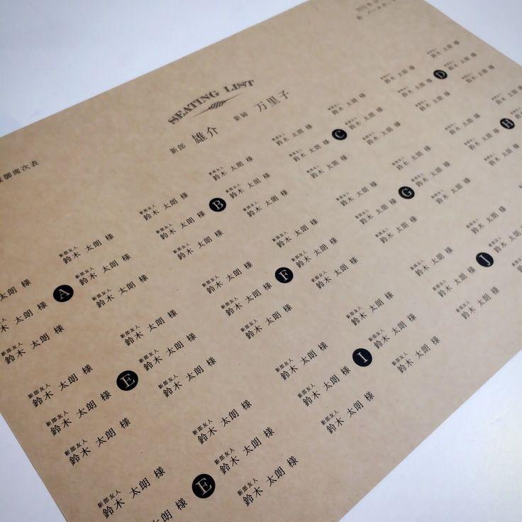 ⚠️2016年9月納品分までのご予約は満枠の為受付終了致しました。10月以降の受付開始日は未定。受付開始前になりましたらサンプル販売を再開致します。 ーーーーー ☑️基本内容 ーーーーー 用紙はクラフト紙(茶)と高級紙(白)の2種類。 表は表紙のみ、裏は席次面のシンプルな席次表になります。 ■料金 《A4サイズ》300円(紐は付属しません) 《B4サイズ》330円(紐は付属しません) ※クルクル丸めて紐で縛る作業はお客様の方でお願いします。 ※70座席以上はB4サイズになります ※50部以上、10部単位でのご購入をお願い致します。 ◼︎送料 全国一律 700円 ■有料オプション ・表に【料理メニュー・メッセージ・プロフィール(写真入り)】を追加する場合は三つ折り席次表と同じ価格になります。 ・レイアウト変更 ・フォント変更 ・基本内容以外の内容追加 etc... ■ご依頼 納品希望日の40日前 ⚠️空き状況により上記のお日にちを過ぎていても承れる場合がございます ■ご注文の流れ ❶お問い合わせ ❷お打ち合わせ、デザイン作製、校正 ❸デザインが完成後、最終確認頂いてから...