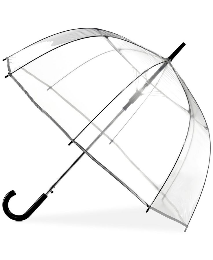 A little rain is no trouble at all when you're carrying this see-through bubble umbrella from ShedRain. | Imported | Steel chrome shaft; fiberglass ribs; POE (polyolefin elastomer) canopy | Automatic