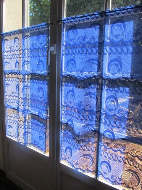 Dolphin Curtains Pair Lace Curtains Blue by HatchedinFrance