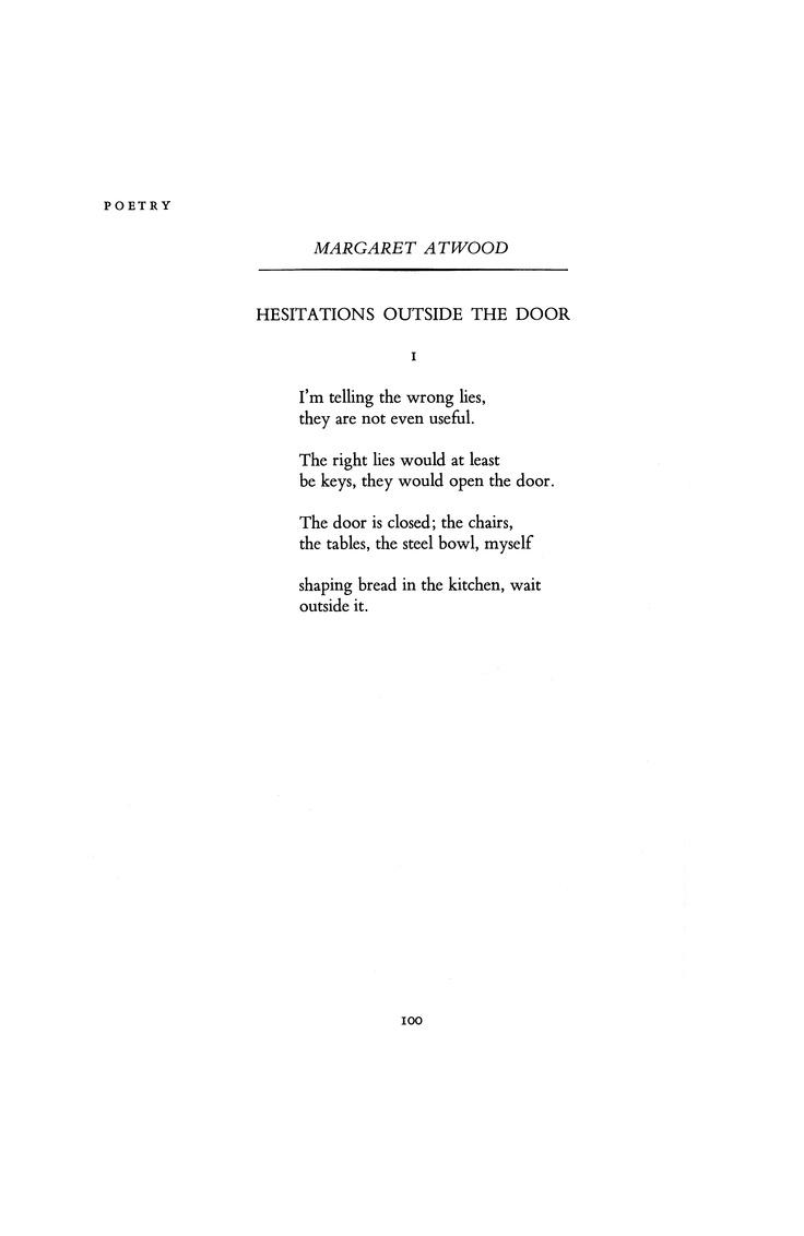 Margaret Atwood, November 1970 : Poetry Magazine