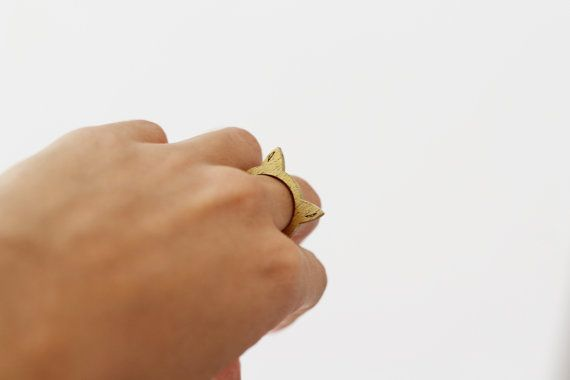 Anillo individual dorado por MITTUEspana en Etsy