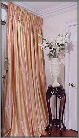 Pink And Yellow Striped Silk Drapery With French Pleat