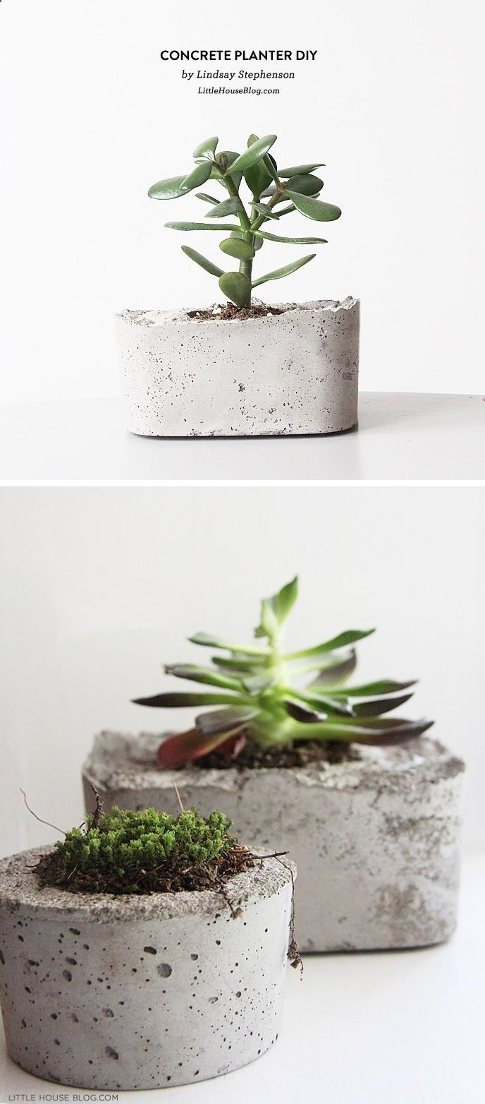 Diy Cement Planters Arts And Crafts Pinterest Cement
