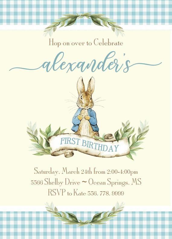 Peter Rabbit Boy Birthday Invitation Printable Digital File
