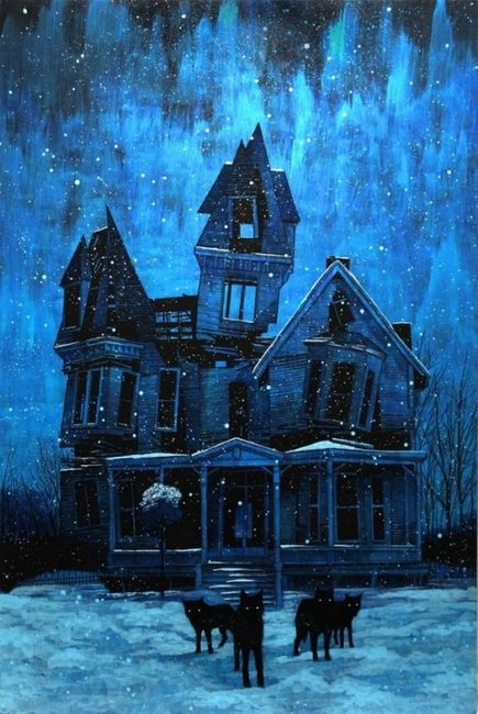 haunted houseOld House, Artists, Daniel Danger, Illustration, Haunted House, Blue House, Abandoned House, The Dark, Middle Schools Art