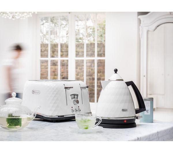 Buy DELONGHI Brillante KBJ3001W Jug Kettle - White + Brillante CTJ4003.W 4-Slice Toaster - White | Free Delivery | Currys