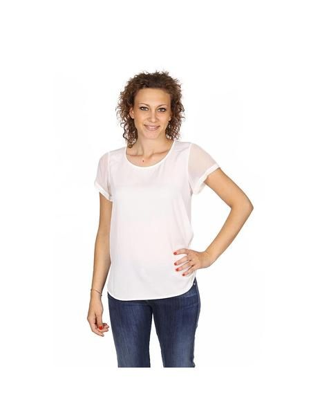 Armani Collezioni ladies shirt short sleeve without buttons RMC13T RM332 101: Armani Collezioni ladies shirt short sleeve without buttons RMC13T RM332 101 White 36 IT - 0 US
