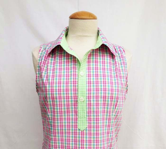 plaid popover shirt with placket