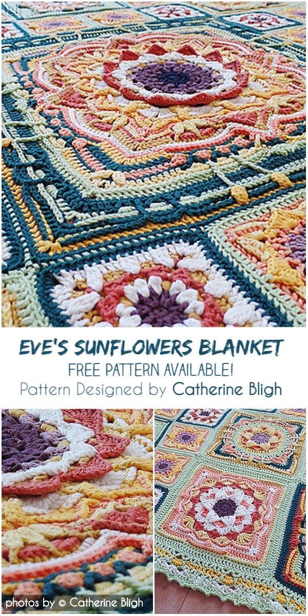 Eves Sunflowers Crochet Blanket Pattern Idea Mormorsrutor