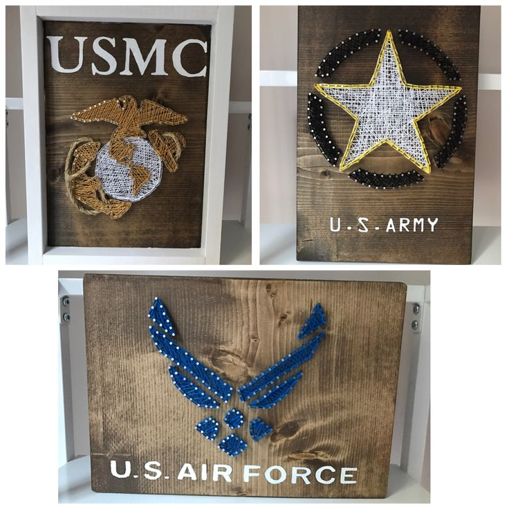 A personal favorite from my Etsy shop https://www.etsy.com/listing/489750411/us-army-marine-and-airforce-string-art