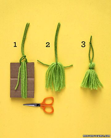 Wrap yarn around cardboard (ours was 3 1/2 inches high) at least 10 times. Loop yarn for hanger under top strands; pull tight. Cut through bottom loops. Tie yarn around tassel near the top; trim ends evenly. (Martha Stewart)