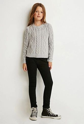 Girls Vented Cable Knit Sweater (Kids)   Forever 21 girls #forever21kids