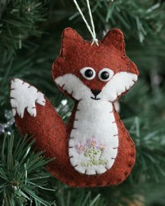 Fox ornament - tutorial for mini fox, owl and squirrel. I could make this bigger as stuffed animals.