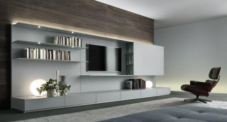 Idée décoration et relooking Salon Tendance Image Description ensemble mural tv moderne - étagères et tiroirs en gis clair dans le salon
