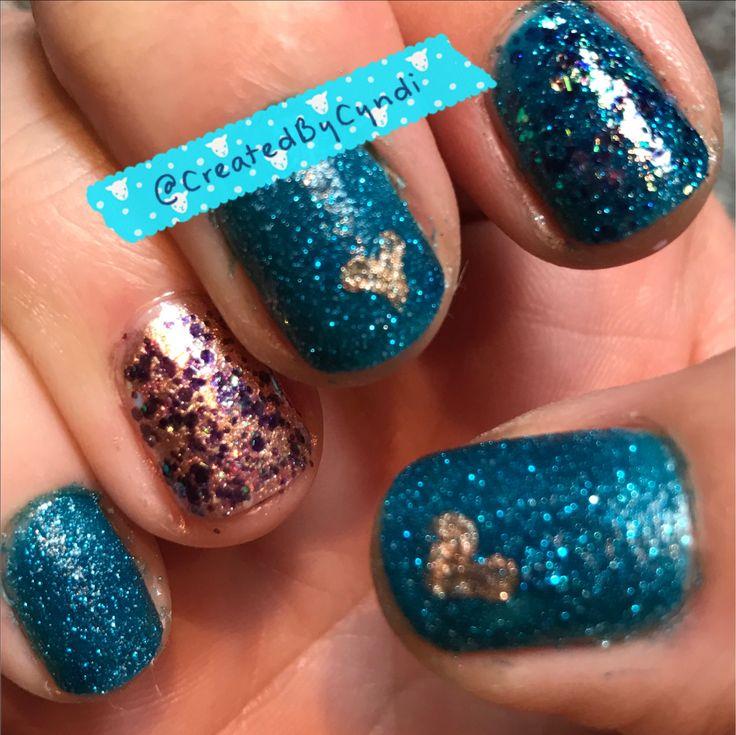 💠Teal Fairy Dust Glitter💠themed mani    #CreatedByCyndi   #BetsyJohnsonPolish #gold #bronze #zoyaPixieDustLiberty #teal #blue  #FingerPaintsDaubignysGarden  Fast Drying & Super Shiny Clear TopCoat: #GlistenandGlowHKGirl  #notd #Nailstagram #NoFilter #shotoniPhone #ShortNails #DIY #NailArt #nail #nails #accentnail #February #winter #2017 #glitter #bling #dottingtools   #everydayzoya