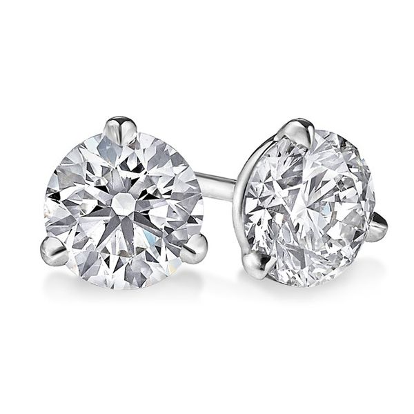 14 Karat white gold round brilliant diamond solitaire earrings in the .75 carat category program. from levyjewelers.com