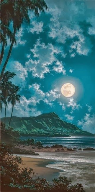 Full Moon Beautiful Waikiki Hawaii - I doubt we will come back home after this!