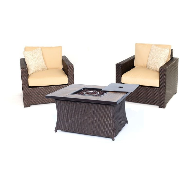 Hanover Metro3pc FP Set: 2 Deep Seating Side Chairs, Woven Fire Pit Coffee Table-Sahara Sand