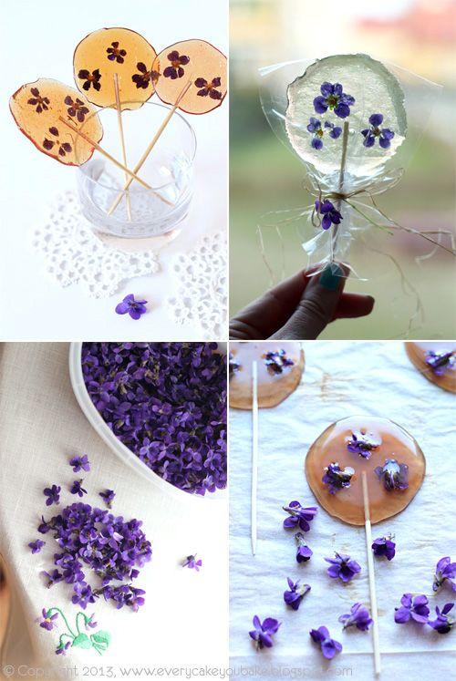 Lollipops with violets   Every Cake You Bake: fiołki