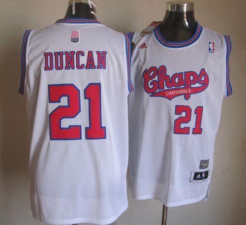 pretty nice 579e4 cc3f7 Spurs #21 Tim Duncan White ABA Hardwood Classic Stitched NBA ...