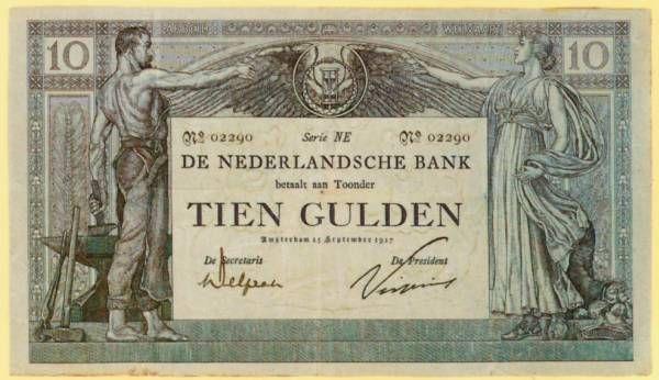 Het eerste bankbiljet van tien gulden,  voor het eerst uitgegeven in 1904 en tot in 1921 in omloop gebleven. (net te jong..)