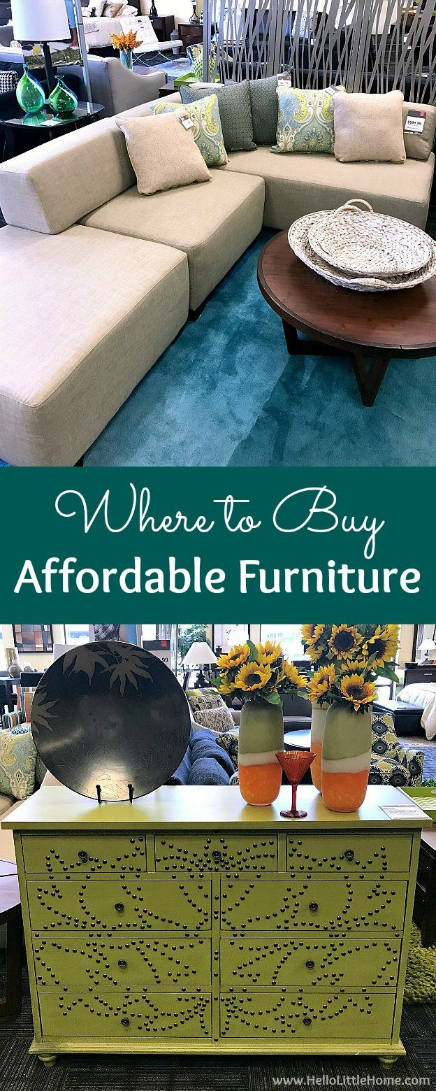 Where to buy affordable furniture! The best tips for finding budget friendly furniture, in stores and online. Inspiring ideas to help you purchase quality, affordable furniture perfect for furnishing apartments, small spaces, first homes, living rooms, bedrooms, and more without going into debt! | Hello Little Home #ad #CORTClearance