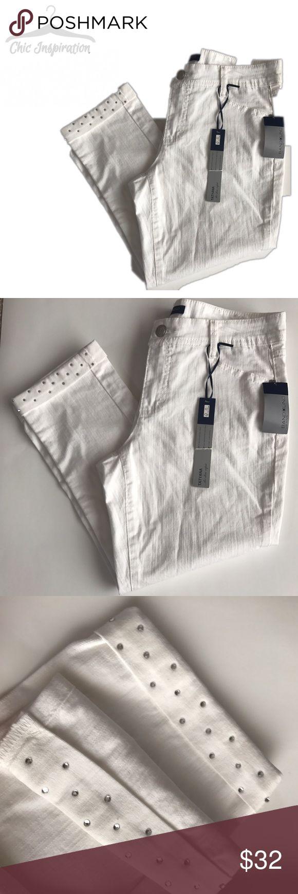 Bandolino White Denim Capris Pants NWT Sits below natural waist, slim through hip and thigh, classic capri length. Stretch. Rhinestones at the hem. Bandolino Pants Capris