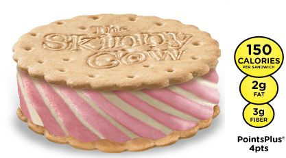 The SKINNY COW®  Strawberry Shortcake Ice Cream Sandwich takes the cake every time. A low-fat swirl of strawberry and vanilla ice creams get scooped between sweet vanilla wafers.