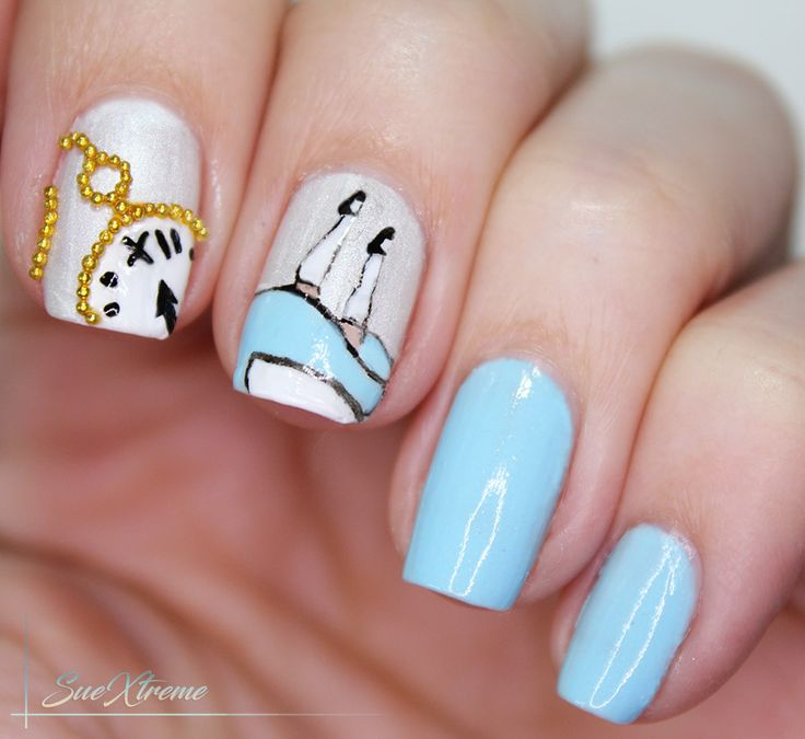 Disney Nail art, Manicura Alicia en el País de las Maravillas, freehand, Alice in Wonderland,