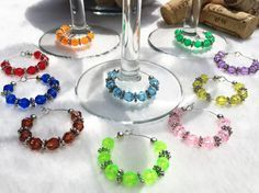 Wine Charms Wine Glass Charms Set of 10 by LasmasCreations on Etsy