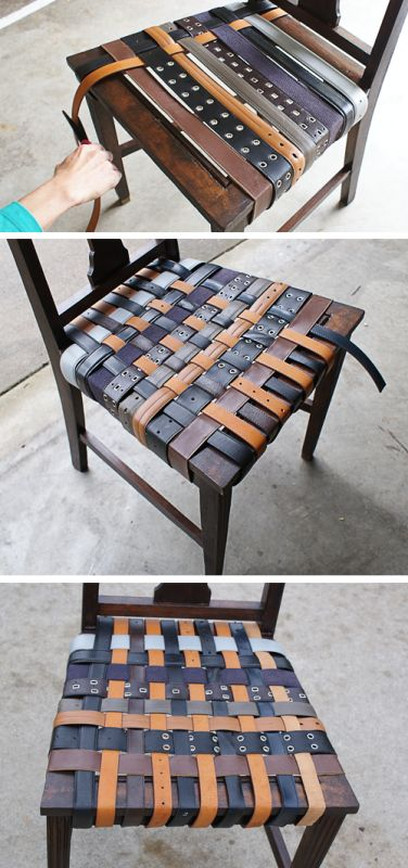 If you have an old chair and want to renovate it somehow unusual, that's the idea for you. You'll need some painting or staining supplies or spray paint and old belts – various and colorful. Sand the chair and stain it with the stain you've chosen. Once stained, sealed and dry, attach belts across using...