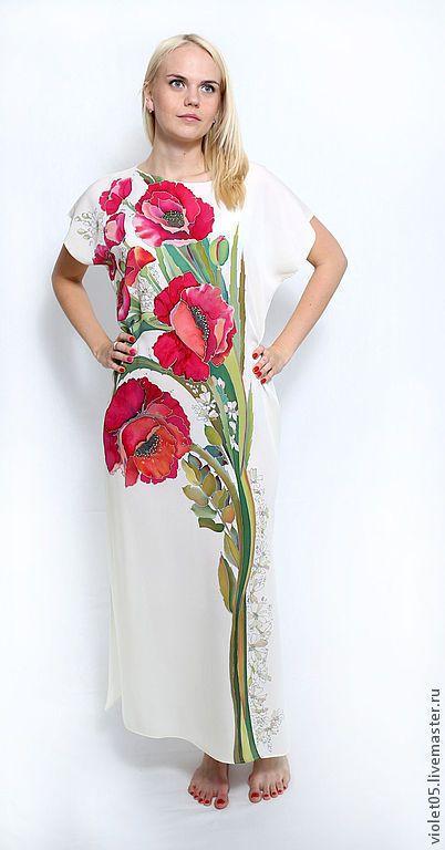 Купить или заказать Мак ослепительный - шелковое платье батик в интернет-магазине на Ярмарке Мастеров. Элегантное платье из плотного креп-жоржета- матовой шелковой ткани, которая правктически не мнется, тк для ее выработки используется очень сильно подкрученная шелковая нить. Это самый практичный вид (!) натурального шелка. Маки - торжественные, особенные, яркие. Романтичное и нежное , одновременно экстравагантное и эффектное платье. Нарядное, светлое, особенное. Освежает, молодит, стройнит.