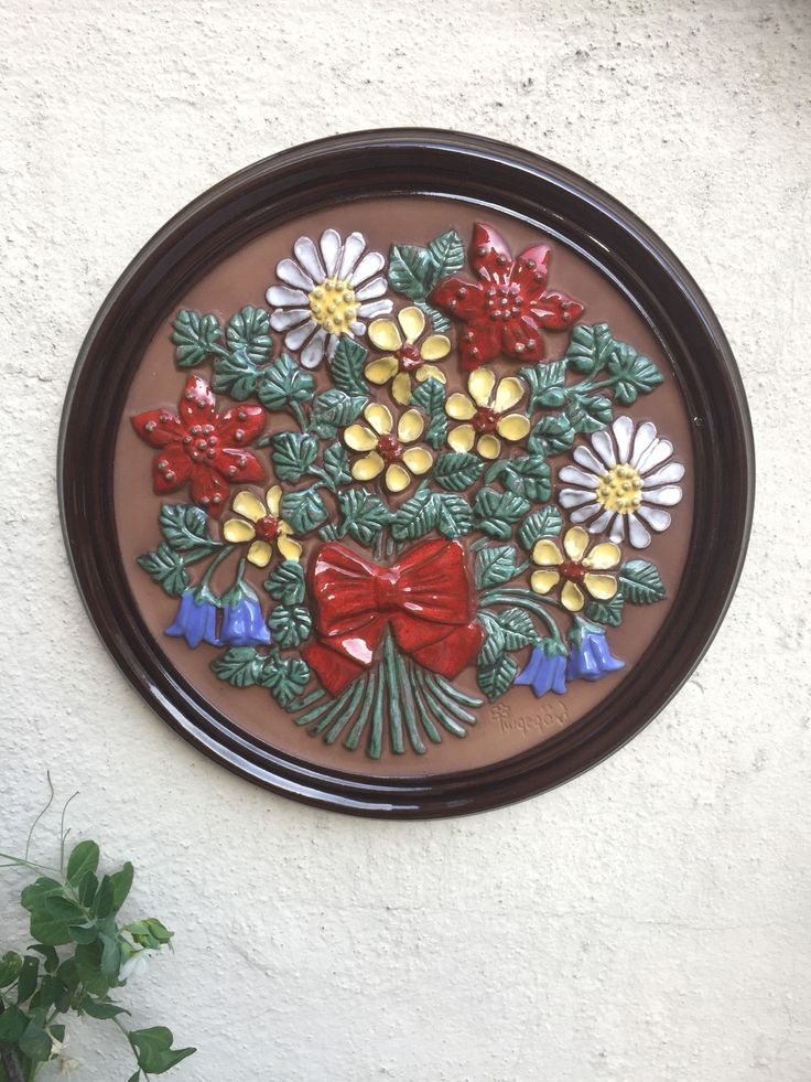 Vintage/1960s/round ceramic tile/ceramic wall art/Gabriel/Sweden/Scandinavian/flowers by WifinpoofVintage on Etsy