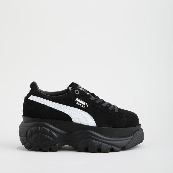 puma basket platform pelle nero