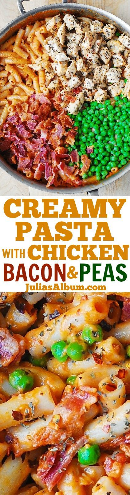 8 slices Bacon. 1 lb Chicken breast. 1 1/2 tsp Basil, dry. 6 Garlic cloves. 1 cup Green peas, frozen. 1 (15 oz can Tomato sauce. 8 oz Penne pasta. 1 tsp Red pepper flake. 1 Salt. 2 tbsp Olive oil. 1/2 cup Heavy cream. 1 cup Mozzarella cheese, grated.