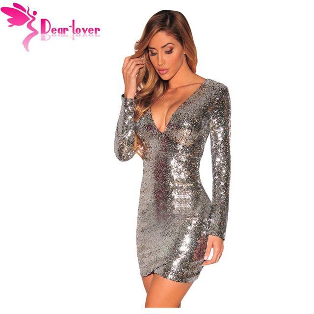 Dear Lover Otoño Femininos Partido Vestido de Lentejuelas de Oro de Manga Larga Vestido de Lentejuelas de Plata Acanalada Lentejuelas Discoteca Vestido LC22795