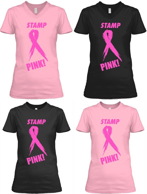 """LIMITED RUN TO SUPPORT BREAST CANCER AWARENESS Every year in October the world turns a little bit pinker as it's Breast Cancer Awareness month. So in honor of this, we are doing a very special and limited run of this """"Stamp Pink!"""" t-shirt.  Profits will be donated to the Breast Cancer Research Foundation!  You're going to love this shirt. And wear it proudly knowing that you're helping a good cause."""