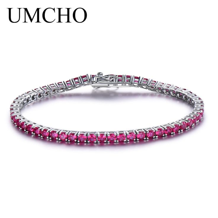 UMCHO Rich Color Created Ruby Bracelet For Women 925 <b>Sterling</b> ...