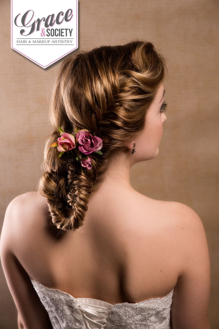Fishtail plait, woven into a low bun
