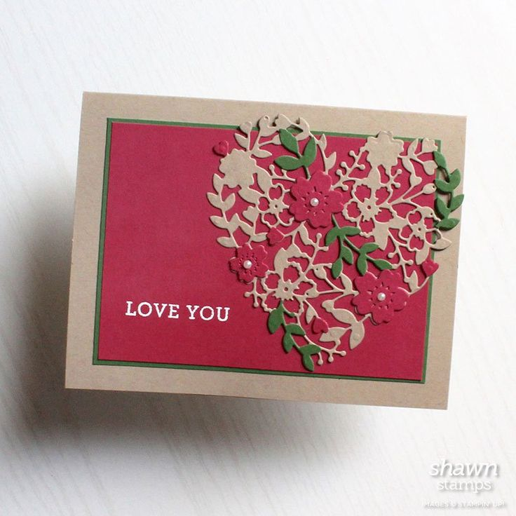 Stampin Up Bloomin' Heart Thinlits Dies, Bloomin' Love Photopolymer Stamp Set, Garden Green, Rose Red, Crumb Cake, white emboss powder